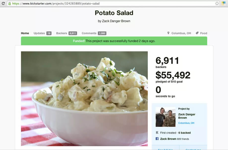Potato salad campaign on Kickstarter